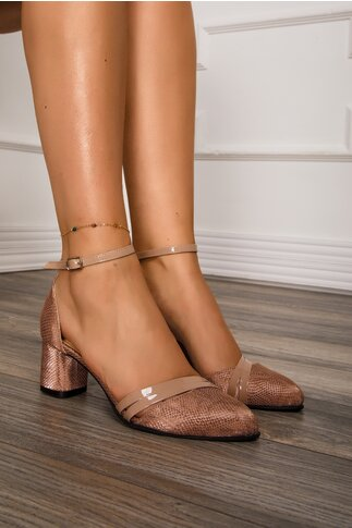 Pantofi roz pudrat cu imprimeu stralucitor si bareta la glezna