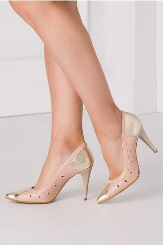 Pantofi roz stiletto cu decupaje in forma de lacrima pe laterale