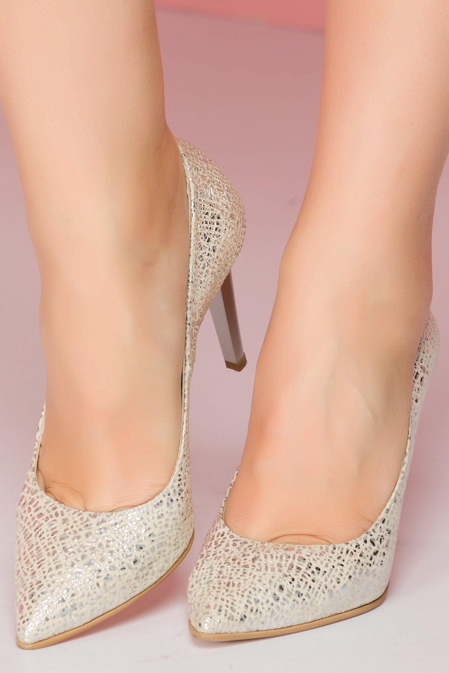 Pantofi Shanon stiletto bej cu aplicatii argintii stralucitoare