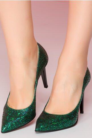 Pantofi Shanon stiletto verzi cu aplicatii stralucitoare