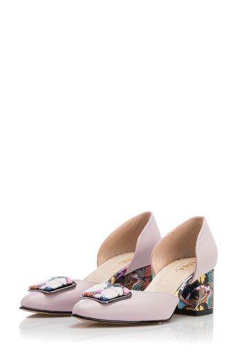 Pantofi Sheila lila imprimati cu fluturi pe toc si varf