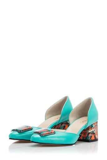 Pantofi Sheila verzi cu imprimeu multicolor pe toc si varf
