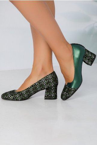 Pantofi Simina verzi cu imprimeu din piele intoarsa in ton cu nuanta pantofilor