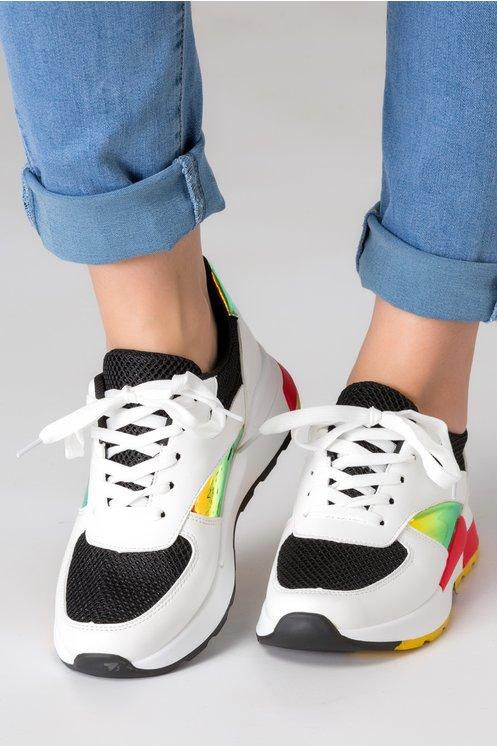 Pantofi sport albi cu insertie din plasa neagra si detalii reflectorizante