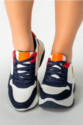 Pantofi sport albi cu insertii bleumarin