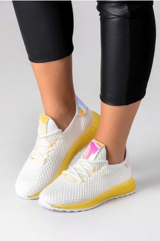 Pantofi sport albi cu talpa galben