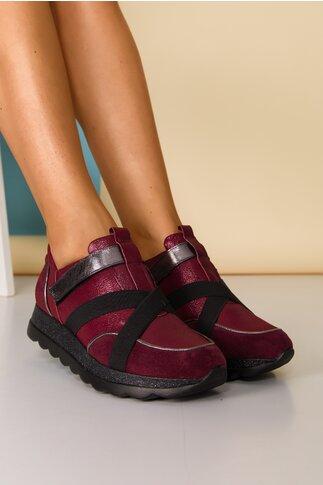 Pantofi sport bordo cu benzi elastice decorative si sclipici pe talpa