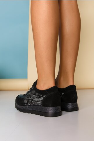 Pantofi sport Kelly negri cu imprimeu snake