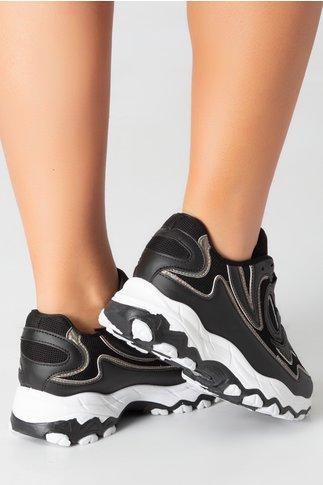 Pantofi sport negri cu detalii reflectorizante