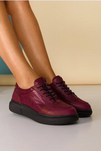 Pantofi sport Nuba bordo cu sireturi