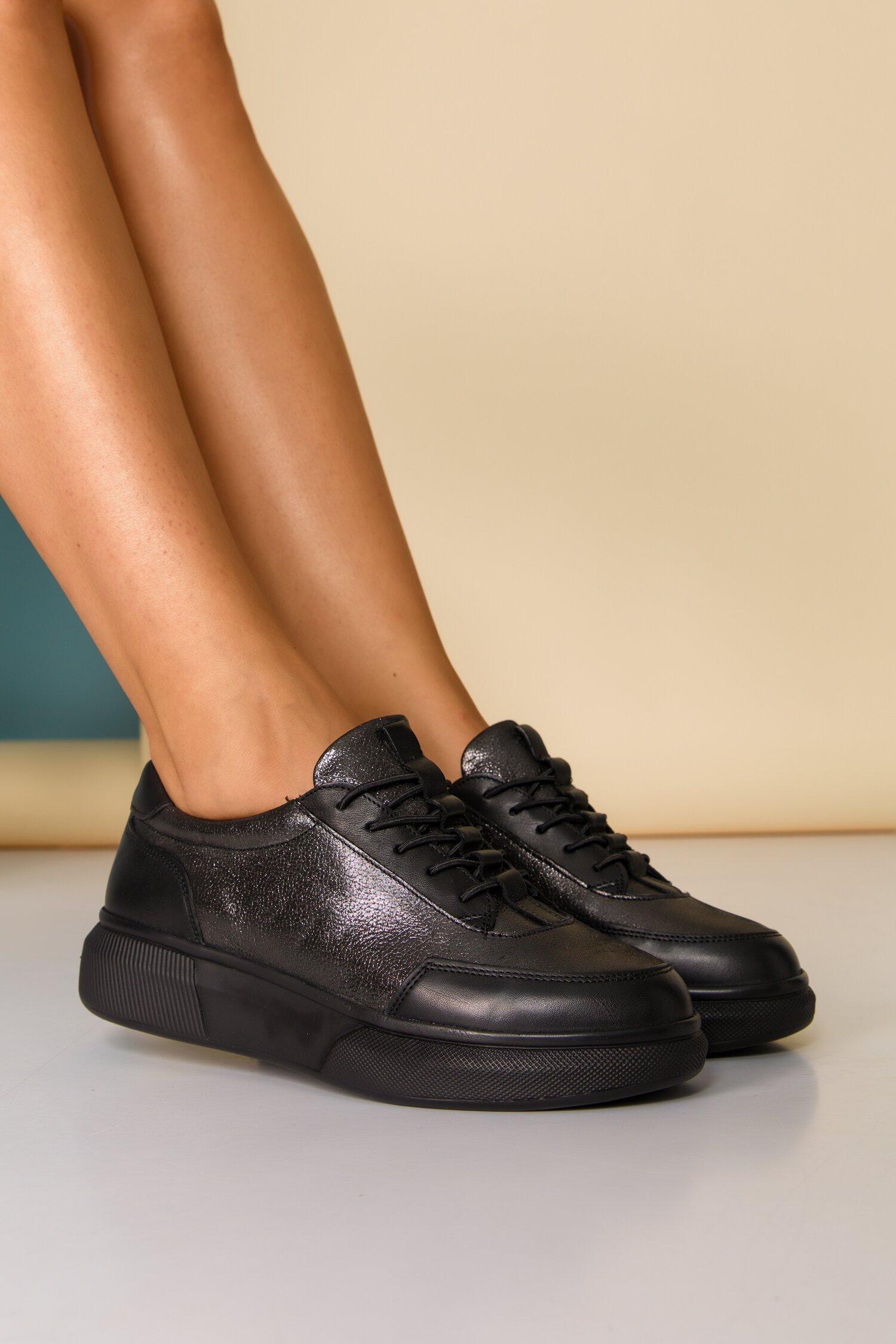 Pantofi sport Nuba negri cu sireturi imagine