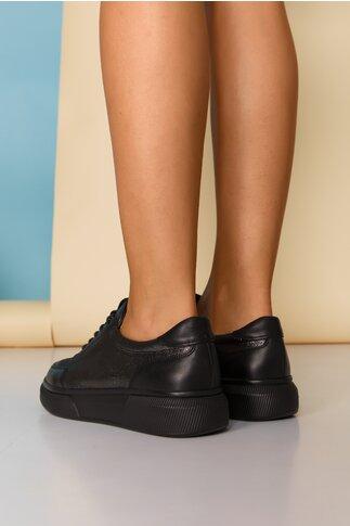 Pantofi sport Nuba negri cu sireturi