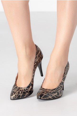 Pantofi stiletto cu imprimeu abstract auriu