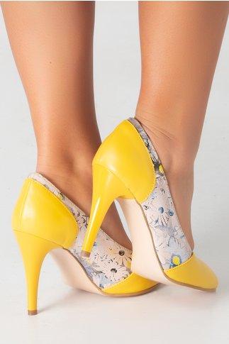 Pantofi stiletto galbeni cu imprimeu floral