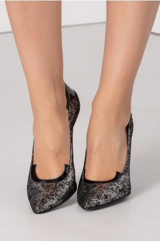 Pantofi stiletto negri cu insertii argintii