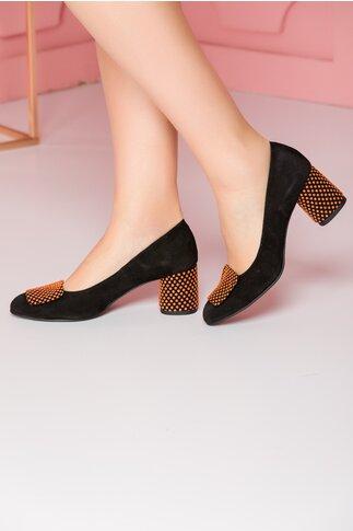 Pantofi Tanya negri cu aplicatie pe varf si toc gros cu buline 3D portocalii