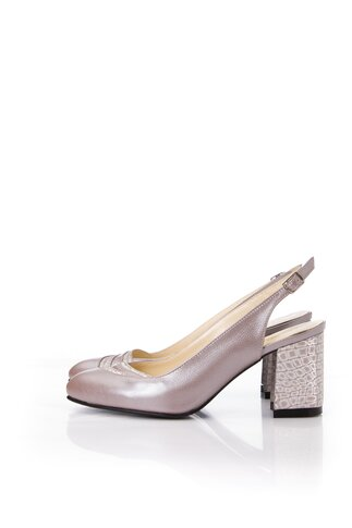 Pantofi taupe cu decupaj la calcai si imprimeu metalizat pe toc si varf