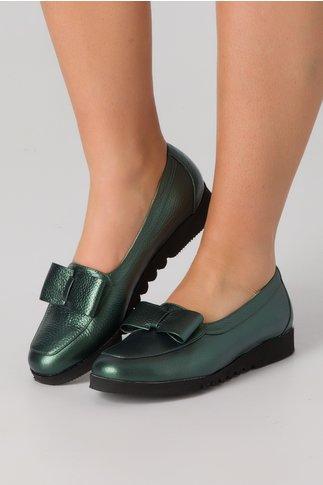 Pantofi verde metalizat cu fundita in partea din fata