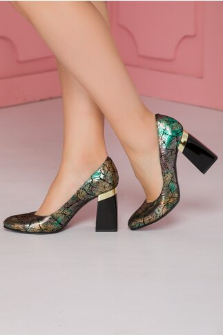 Pantofi verde metalizat cu toc lacuit usor rotunjit