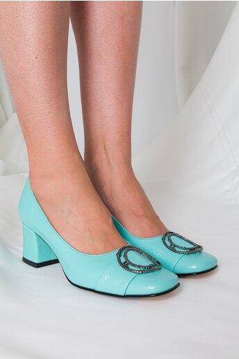 Pantofi verde mint cu accesoriu metalic pe varf