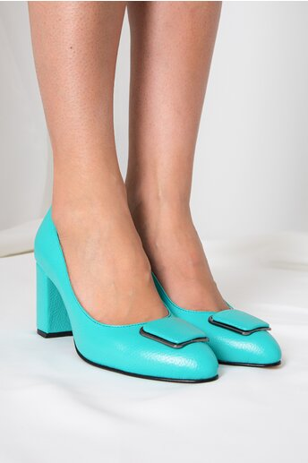 Pantofi verde mint cu aplicatie pe varf