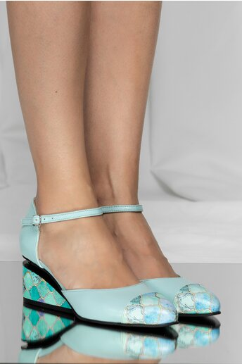 Pantofi verde mint din piele naturala cu decupaj si talpa ortopedica