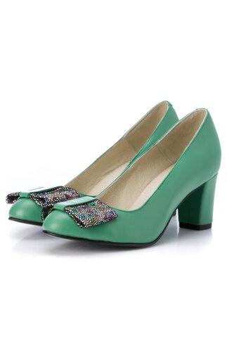 Pantofi verde pal cu fundita maxi la varf cu imprimeu cu picatele