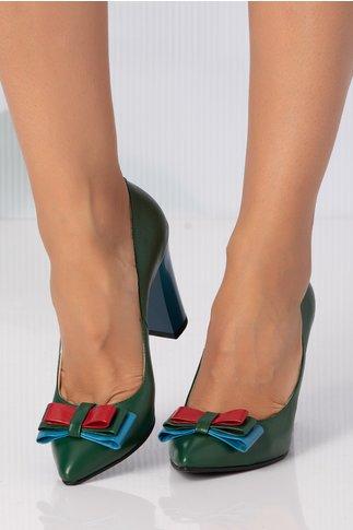 Pantofi verzi cu fundita aplicata si toc turcoaz lacuit