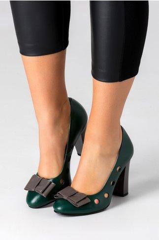Pantofi verzi cu perforatii si funda gri