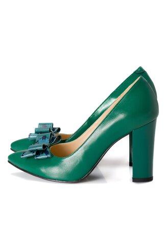 Pantofi verzi din piele cu fundita pe varf cu frunze imprimate