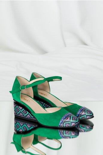 Pantofi verzi din piele naturala cu decupaj si talpa ortopedica