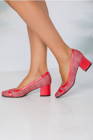 Pantofi Xya rosu cu argintiu si toc jos