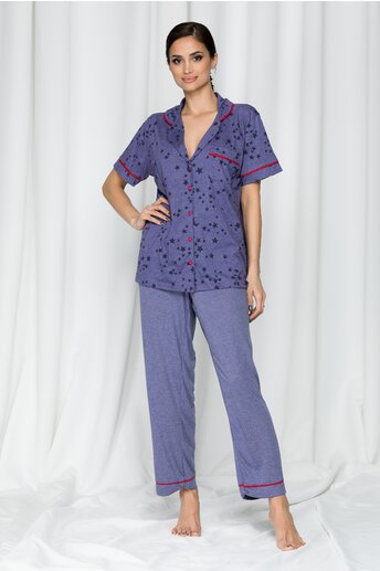 Pijama Anemona mov cu pantaloni lungi si imprimeu stelute