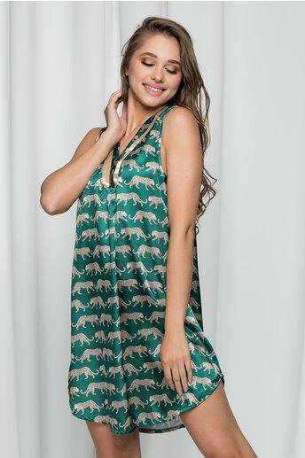 Pijama Brenda satinata cu imprimeu leopard