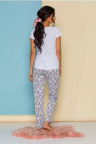 Pijama Bugs Bunny cu bluza alba si pantaloni gri cu imprimeuri