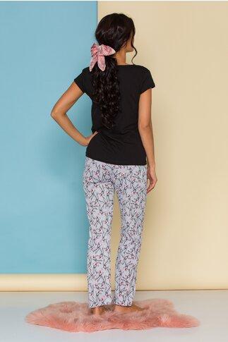 Pijama Bugs Bunny cu bluza neagra si pantaloni gri cu imprimeuri