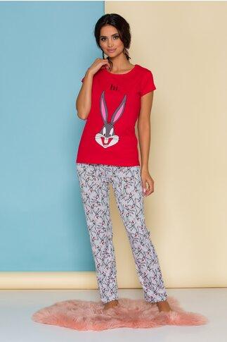 Pijama Bugs Bunny cu bluza rosie si pantaloni gri cu imprimeuri