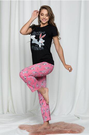 Pijama Bugs Bunny cu tricou negru si pantaloni roz