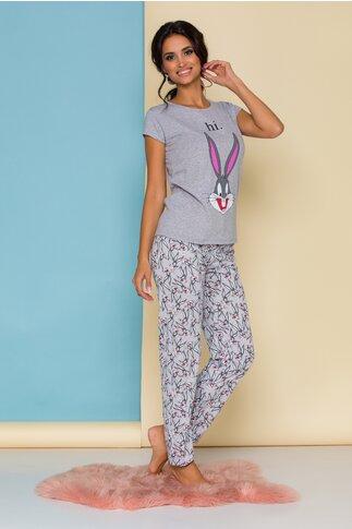 Pijama Bugs Bunny gri cu imprimeuri