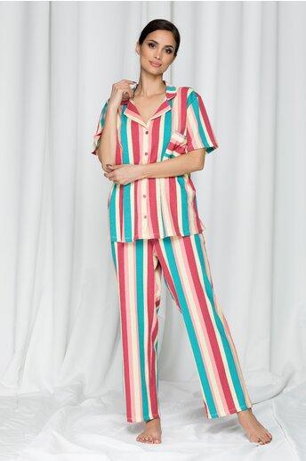 Pijama Clarisa cu pantaloni lungi si dungi verticale