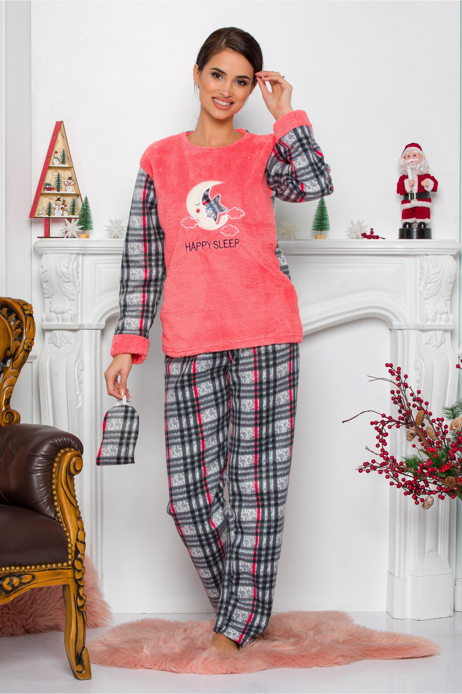 Pijama Cocolino cu bluza corai si pantaloni cu carouri