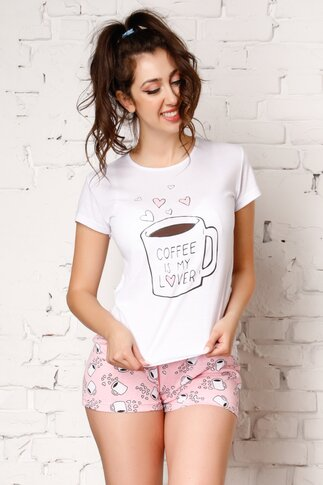 Pijama Coffee cu tricou alb si pantaloni scurti roz