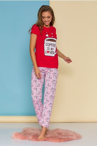 Pijama Coffee cu tricou rosu si pantaloni roz