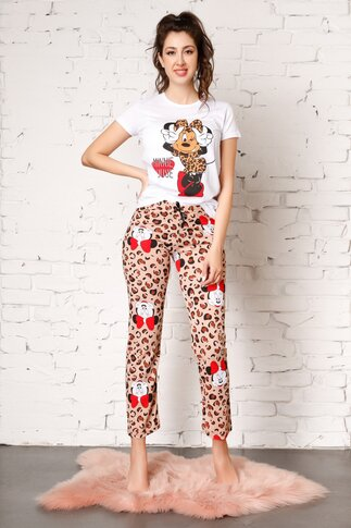 Pijama cu Minnie Mouse si animal print