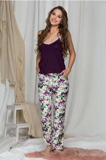 Pijama cu top mov si pantaloni cu flori
