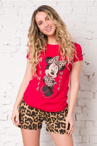 Pijama cu tricou rosu si pantaloni scurti cu animal print