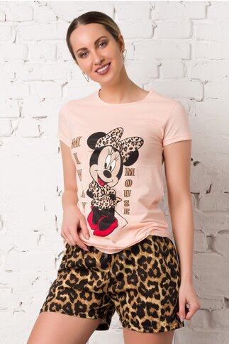 Pijama cu tricou somon si pantaloni scurti cu animal print