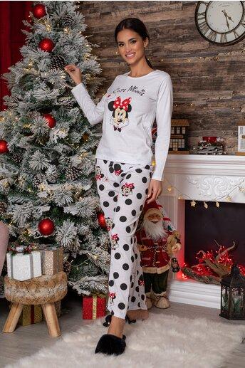 Pijama Cute Minnie alba cu imprimeu