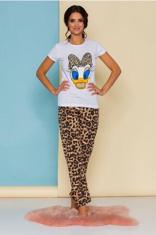 Pijama Daisy Duck cu tricou alb si pantaloni cu animal print