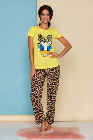 Pijama Daisy Duck cu tricou galben si pantaloni cu animal print